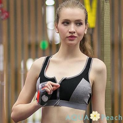 運動內衣 兩件一體式前扣拉鍊聚攏內衣 (黑色)-AQUA Peach