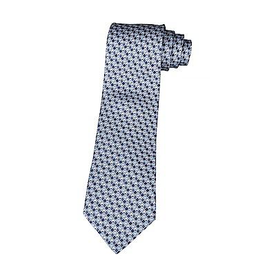 HERMES愛馬仕7 CARRE D AS經典緹花LOGO撲克圖騰設計蠶絲領帶(灰藍)