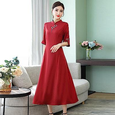 氣質優雅素色刺繡旗袍洋裝M-4XL(共兩色)-REKO