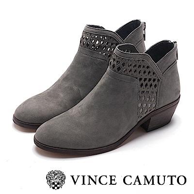 VINCE CAMUTO 麂皮簍空中跟踝靴-灰色