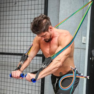 【Cap】瑜珈健身彈力拉繩11件組