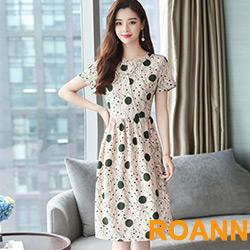 縷空交疊圓領圓點印花短袖洋裝 (米白色)-ROANN