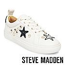 STEVE MADDEN-SMART-潮流時尚裂紋面繡飾珍珠厚底鞋-白色