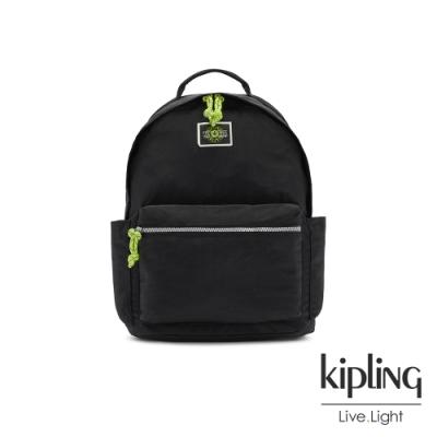 Kipling 率性芝麻抹茶綠抽繩拉鍊後背包-DAMIEN