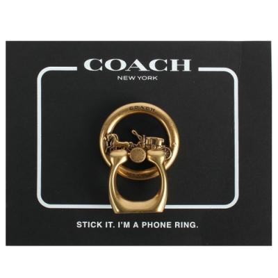 COACH 馬車LOGO手機指環扣-古銅金