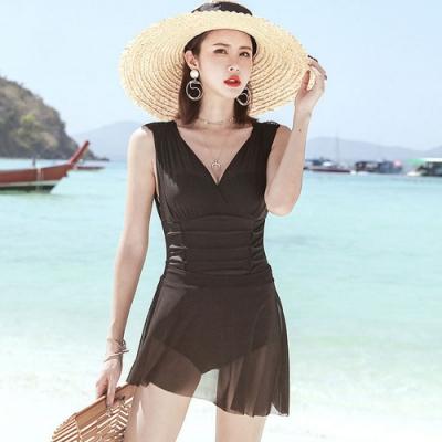 Biki比基尼妮泳衣,蔻蘭連身泳裝泳衣紗裙二件式(M-2XL)