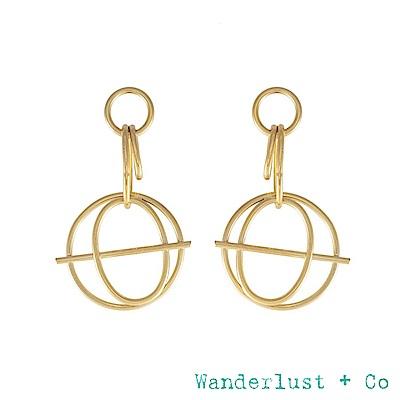 Wanderlust+Co INFUSION系列 幾何星軌鍍18K金耳環