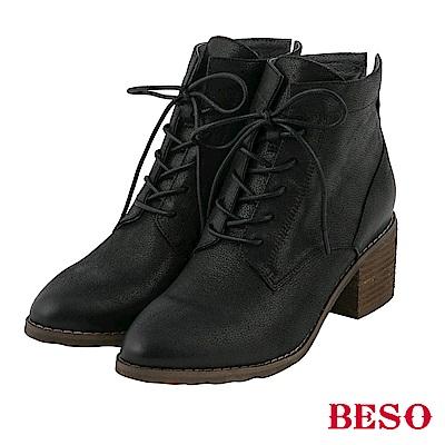 BESO 內斂光芒 擦色珠光綁帶靴~黑