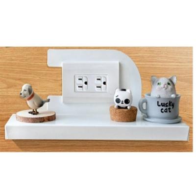 (台灣製造)免鑽牆AB1005WT(大號) 插座開關充電置物架白色