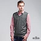 歐洲貴族 oillio V領背心 紳士休閒款 菱格紋設計 綠色