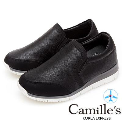 Camille's 韓國空運-素面懶人休閒小白鞋-黑色