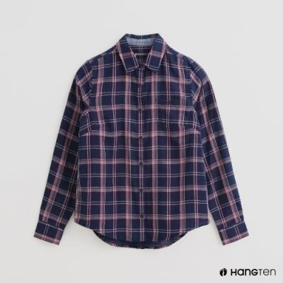 Hang Ten -童裝 - 配色格紋長袖襯衫 - 紫