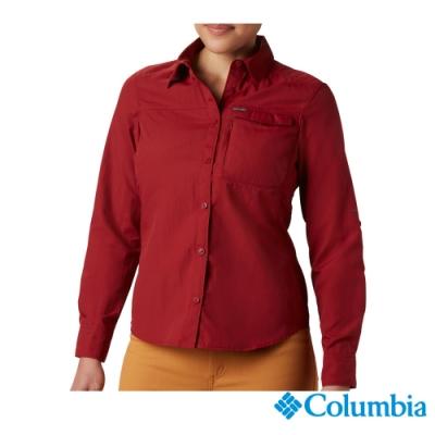 Columbia哥倫比亞 女款-UPF50快排襯衫-紅色 UAK26570RD