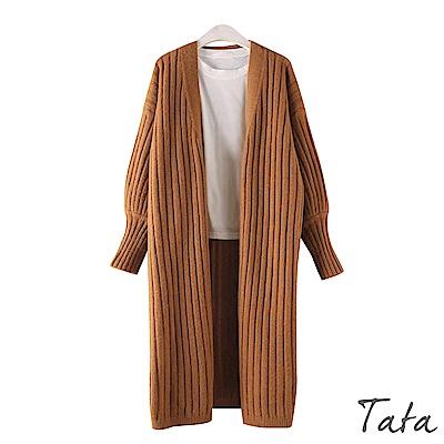 坑條紋蝙蝠袖長版針織外套 共三色 TATA