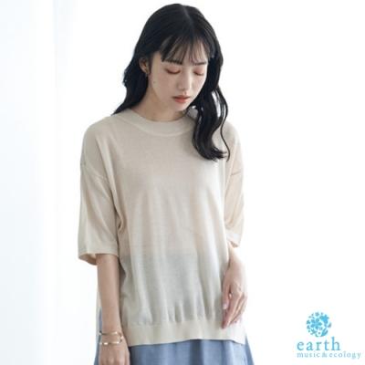 earth music 素面薄針織短袖圓領上衣