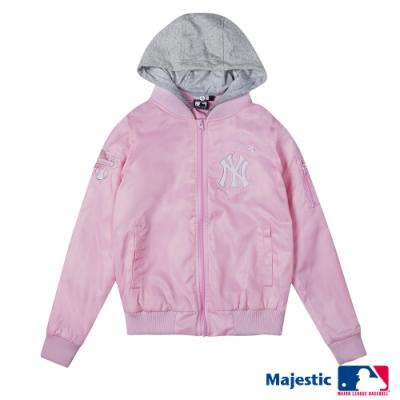 MLB - 洋基隊鋪棉可拆帽棒球外套-淺粉紅 (女)