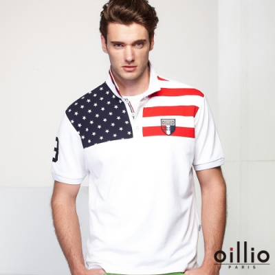 oillio歐洲貴族 吸濕排汗透氣網眼POLO衫 質感棉料 白色