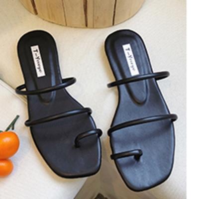 KEITH-WILL時尚鞋館-性感魅力扣指平底方頭涼鞋-黑色