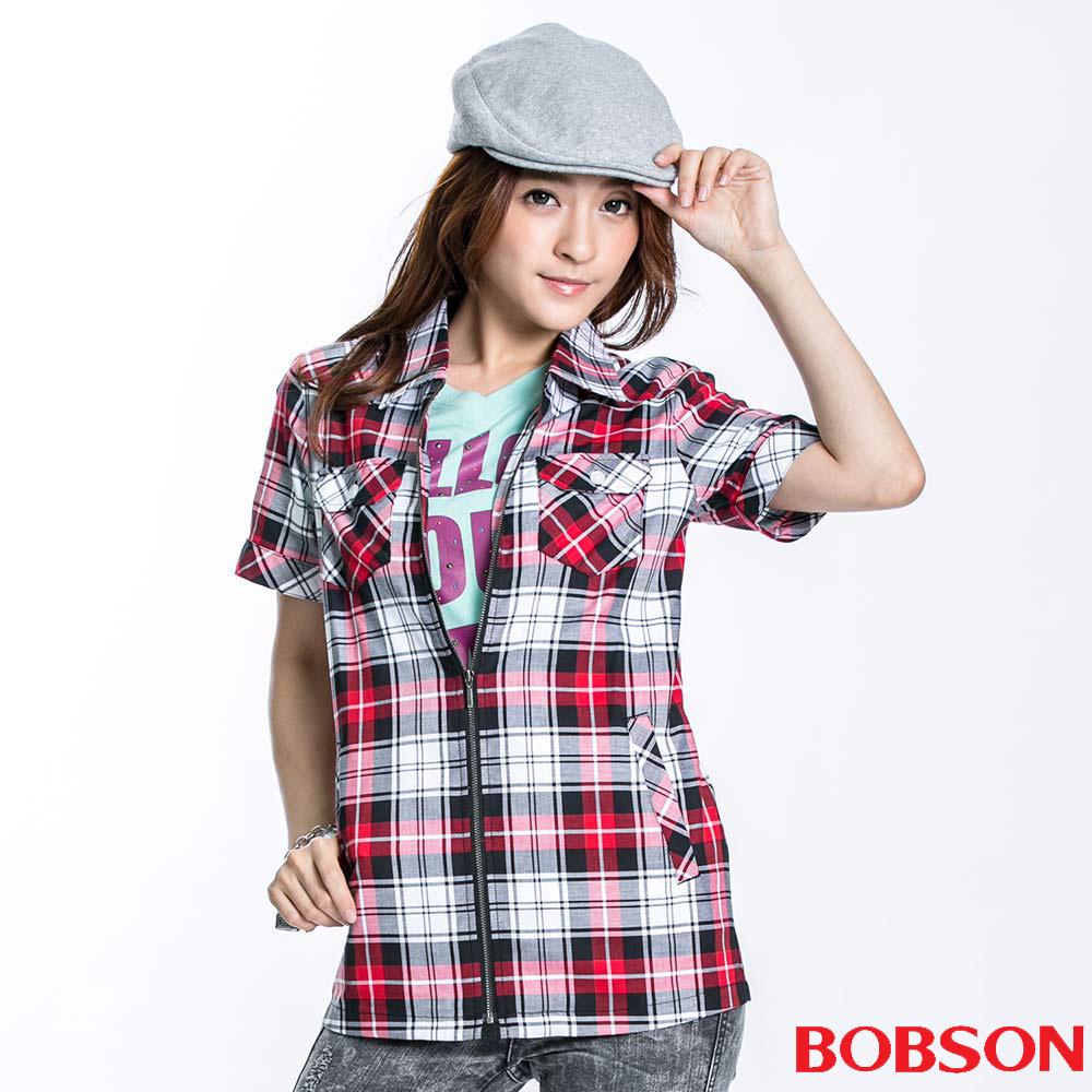 BOBSON 女款拉鍊式格紋短袖外套(紅13)