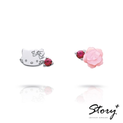 STORY故事銀飾-恰咪甜美系列-CharmmyKitty玫瑰純銀耳環(白K金)