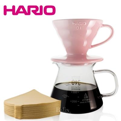 【HARIO】V60 櫻花粉01彩虹磁石濾杯濾紙組(附贈 台玻耐熱咖啡壺)