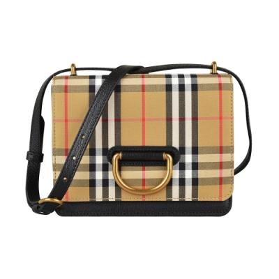 BURBERRY SM D-RING金字壓印LOGO金D扣復古格紋設計帆布牛皮飾邊翻蓋斜背包(黑)