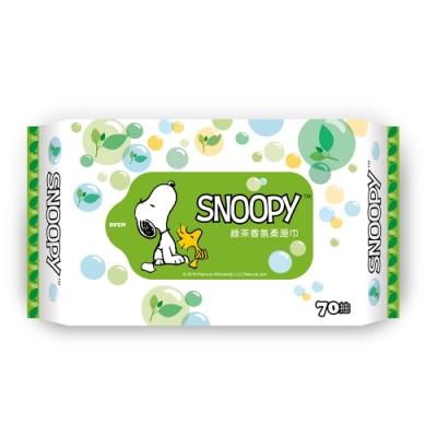 Snoopy 史努比 綠茶香氛濕紙巾 70 抽 X 18 包/組