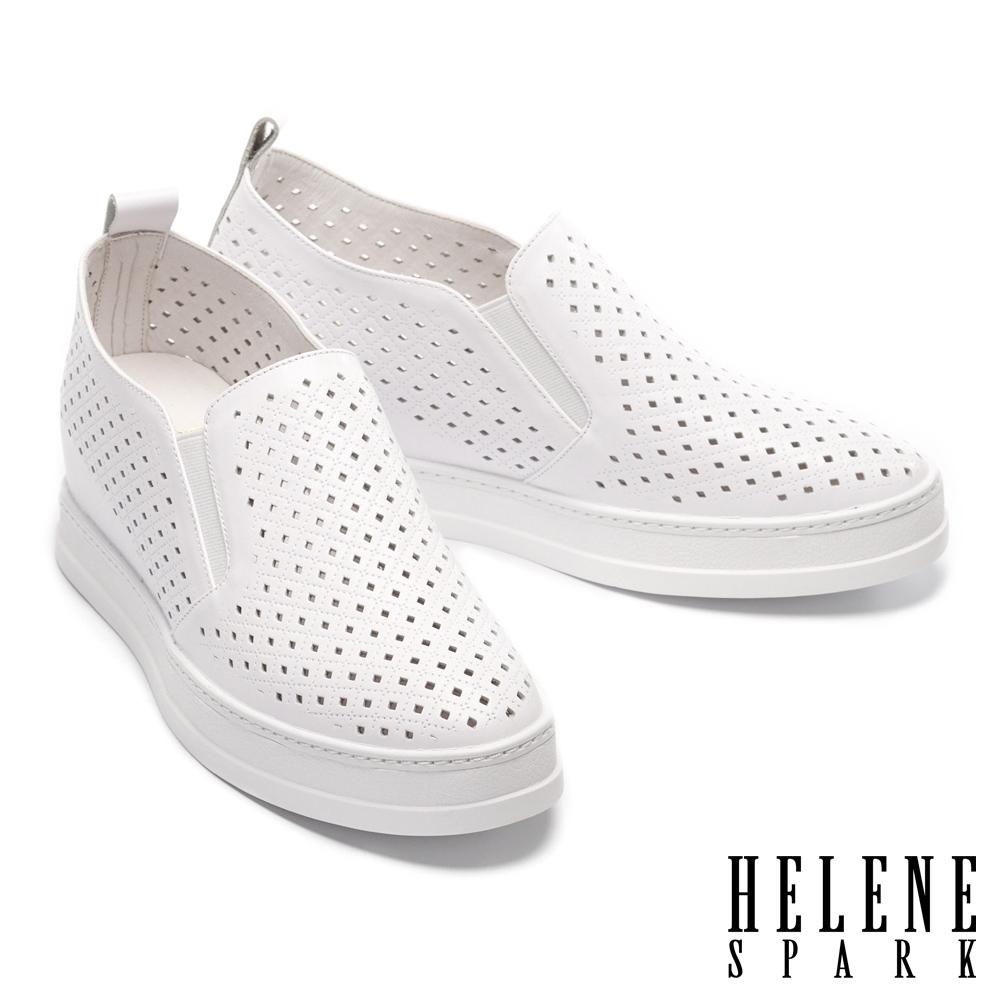 休閒鞋 HELENE SPARK 簡約率性沖孔全真皮內增高休閒鞋-白