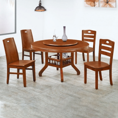 H&D 全實木4.5尺圓桌組