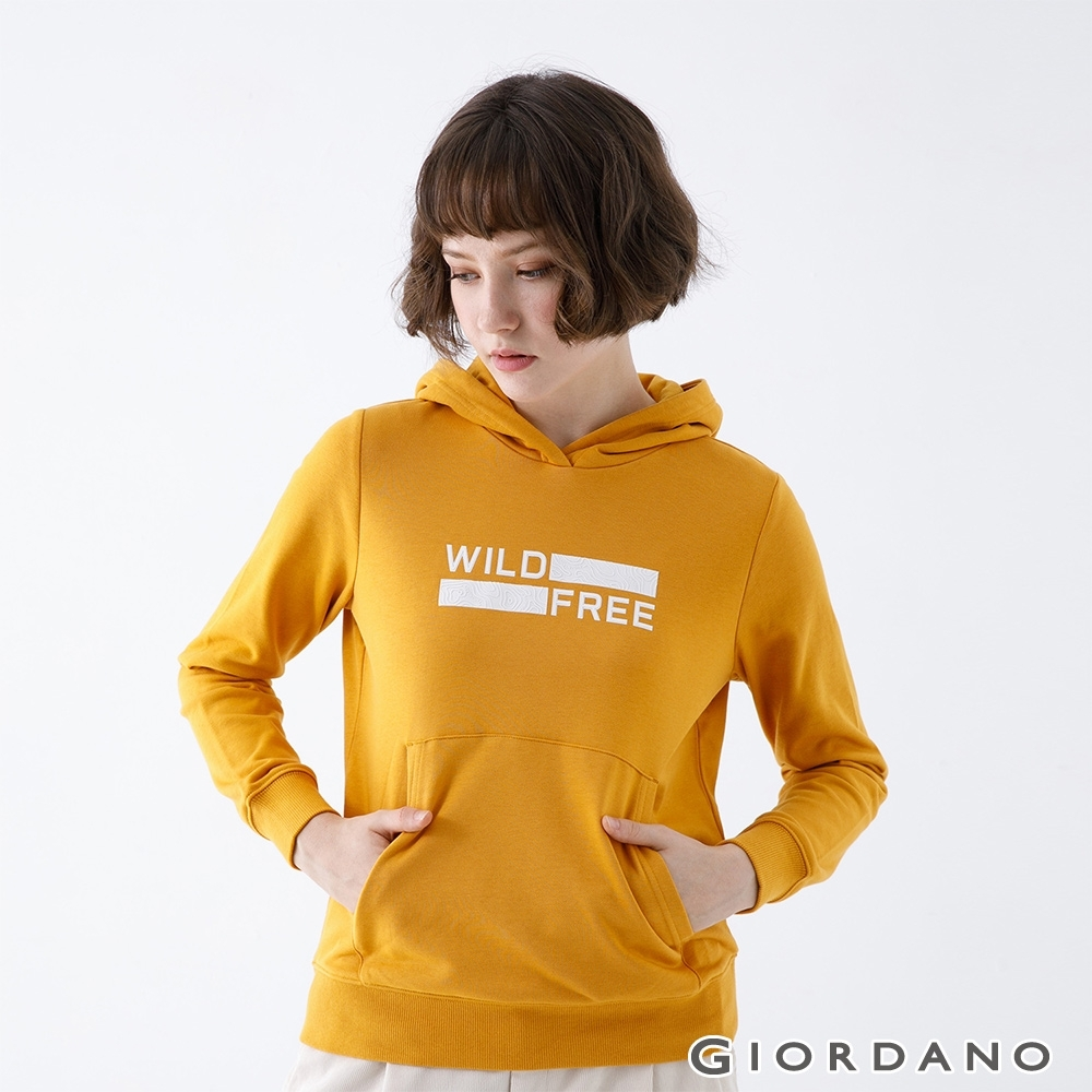GIORDANO   女裝ADVENTURE連帽T恤 - 81 向日葵黃
