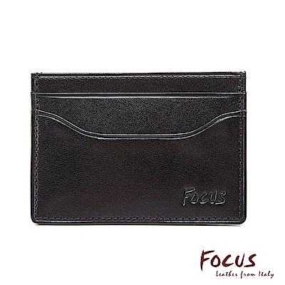 FOCUS原皮時尚黑簡約商務名片夾(FGB1126)