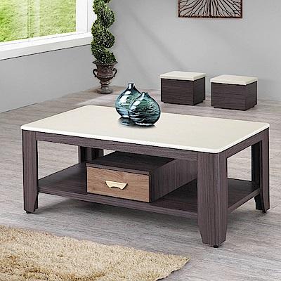 MUNA 達克胡桃色石面4.3尺大茶几(含凳)  130X70X55cm