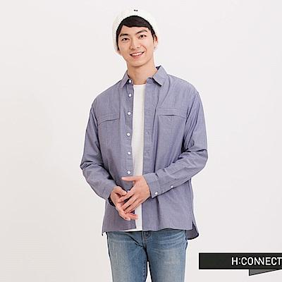 H:CONNECT韓國品牌男裝細直紋棉襯衫-藍快