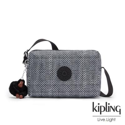 Kipling 簡約黑白幾何條紋小巧簡約拉鍊方包-COLLEEN