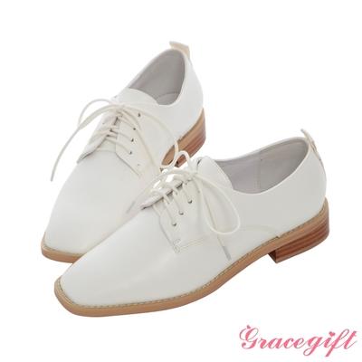Grace gift X MEG-聯名方頭沿條綁帶低跟牛津鞋 白