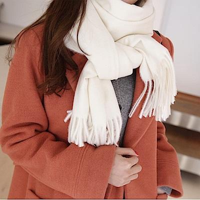 梨花HaNA 冬日極暖手感黃金絨SKY純色系列圍巾-米白