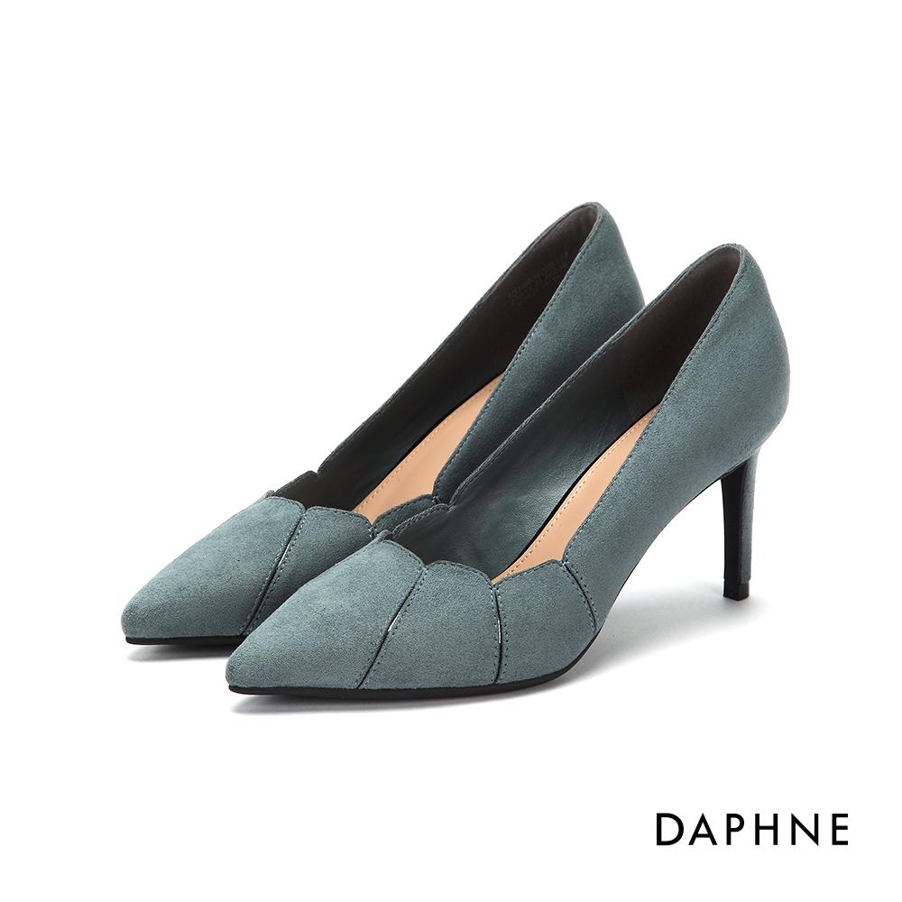 達芙妮DAPHNE 高跟鞋-花瓣拼接絨布尖頭高跟鞋-藍