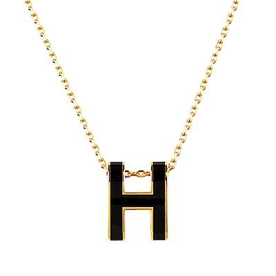 HERMES愛馬仕經典POP系列H字母立體簍空橢圓LOGO鎖骨項鍊(黑X金)