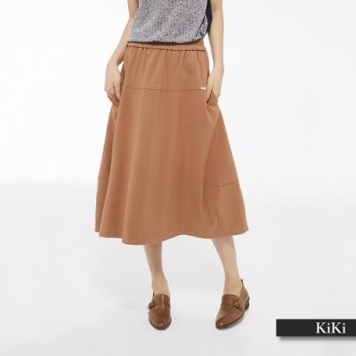 【KiKi】立體剪裁舒適-長裙(二色)