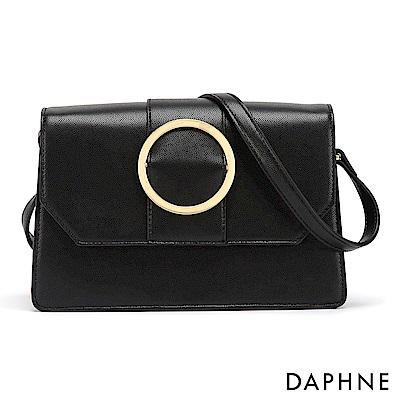 達芙妮DAPHNE-時尚優雅圓環扣飾手提肩包-黑