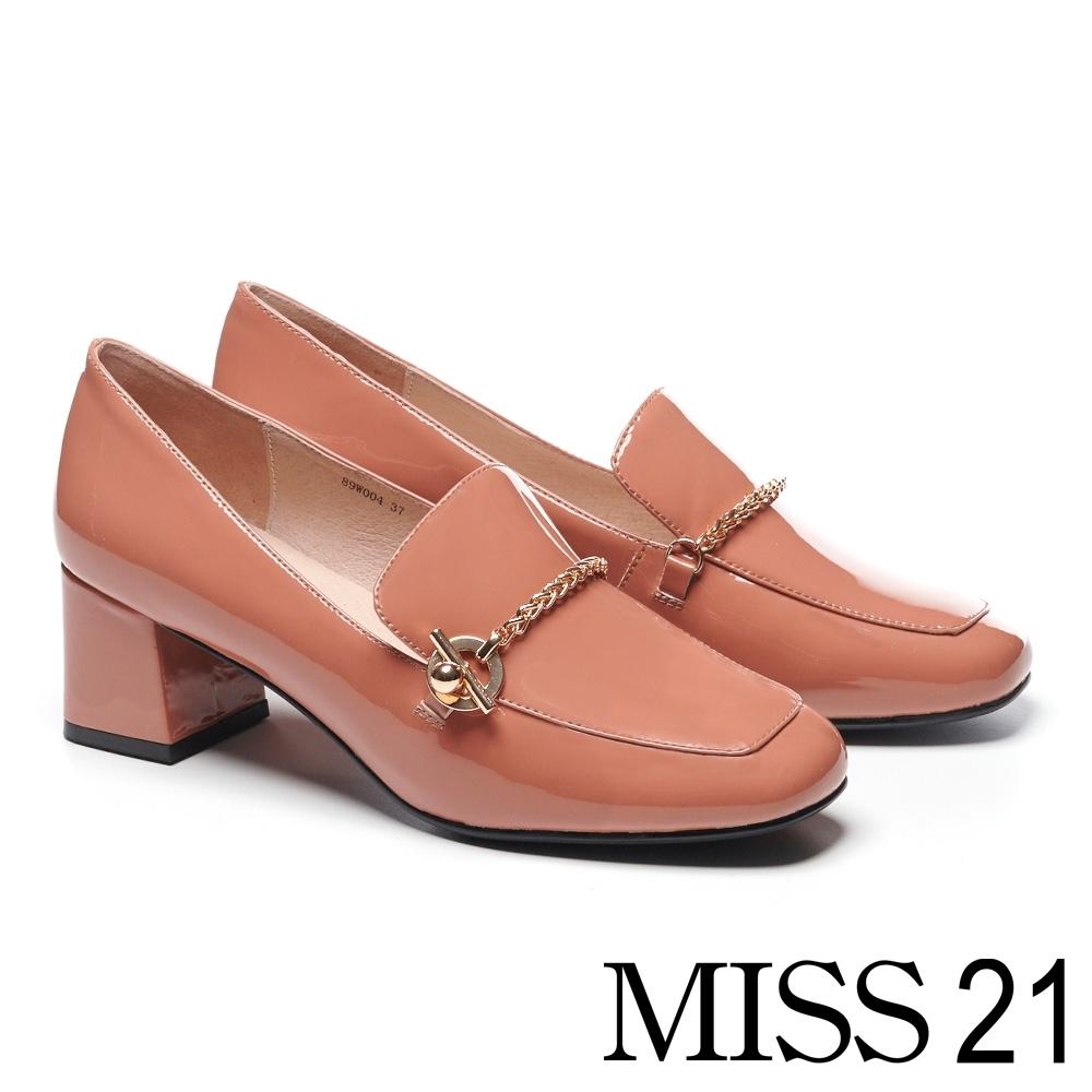 高跟鞋 MISS 21 復古時尚金鍊全真皮樂福方頭粗高跟鞋-粉