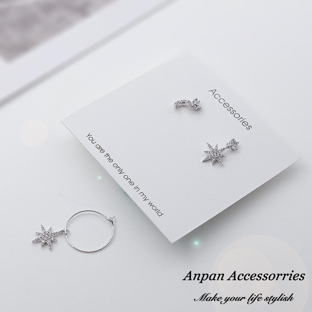 【ANPAN愛扮】韓東大門簡約百搭六芒星辰少女心耳環三件套組