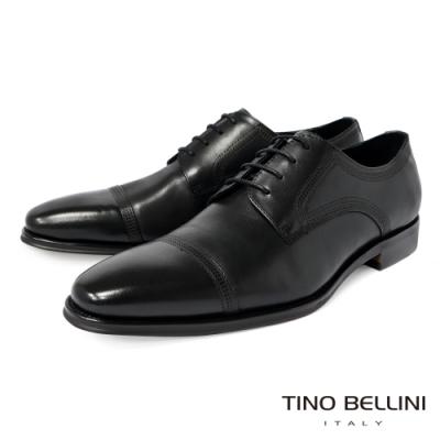 TINO BELLINI 男款牛皮現代流線設計紳士正裝鞋-黑