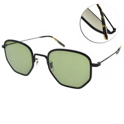OLIVER PEOPLES太陽眼鏡  復古多邊框/黑-綠#ALLAND 506252