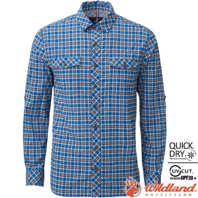 Wildland 荒野 0A81202-72深藍色 男彈性格子長袖襯衫 抗UV/中層衣/登山休閒服/排汗衫/可當外套