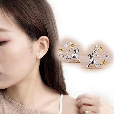 iSFairytale伊飾童話 花與鹿 亮麗白銀銅鍍30銀耳環
