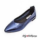 Lilylollipop 超軟金屬炫光平底鞋--藍色