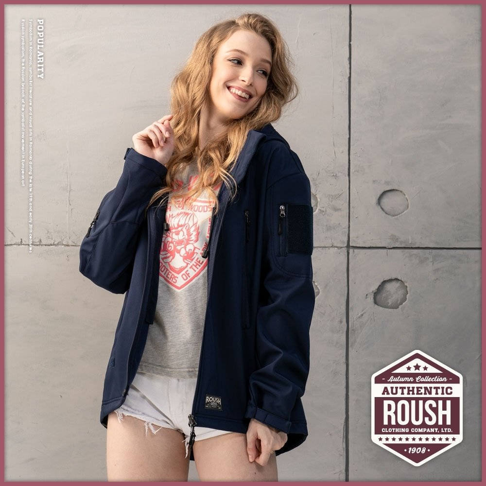 Roush (情侶款)女生魔鬼粘多拉鍊連帽機能性短大衣(3色)