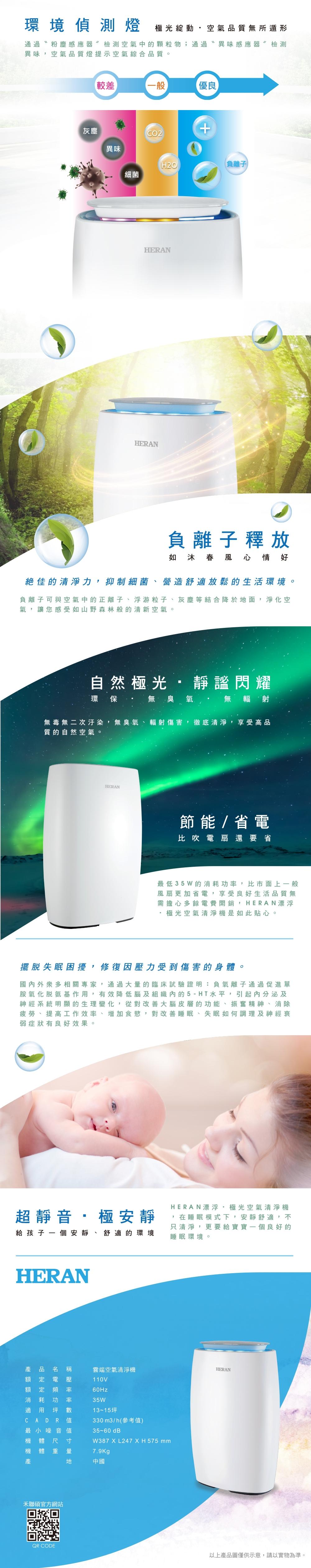 結帳驚喜 HERAN禾聯 13-15坪 WIFI雲端智能抗敏空氣清淨機 HAP-330M1I