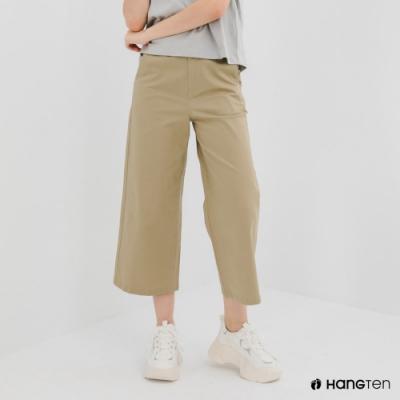 Hang Ten-女裝-WIDE LEG FIT鬆緊腰頭九分褲-深卡其